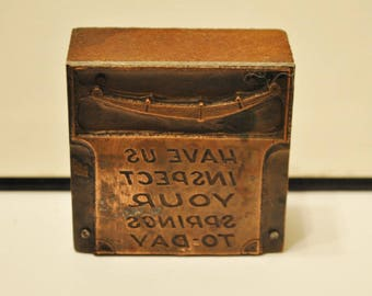 Antique Letterpress Large Blocks Advertising Automotive Services   Early 1900s Copper Faced Letterpress Auto Repair Ads