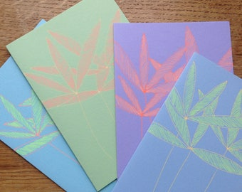 Coloured Bamboo Leaves   set of four cards
