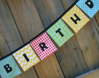 HAPPY BIRTHDAY Reusable Cloth Fabric Banner - Red Blue Green Yellow Primary Colors - birthday sign, gender nuetral birthday, boy girl