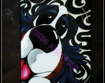 bernese mountain dog whimsical black white swirl zoomie  smiling happy dog mom pet love 10x20 maggie brudos painting Original whimsical art