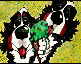 bernese mountain berner bmd whimsical ice cream cone sneaking a lick kitchen summer 9x12  maggie brudos painting Original whimsical DOG art