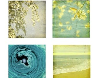 50% OFF SALE Blue and Yellow Wall Decor Nature Photography Ocean Art Landscape and Still Life Flower Set of Four 5x5 inch Photography Prints