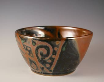 Pottery  Bowl - Wheel Thrown Stoneware with Ornate Shiny Brown Bronze Shino Design Perfect for Dips and Snacks!