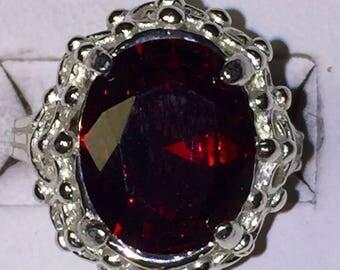 Red zircon silver ring