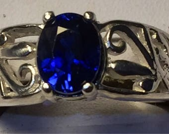 Blue Sapphire silver ring size 7.5