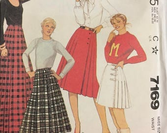 80's McCall's 7169 Misses' Pleated Skirts  size 12 Waist 26.5 inches  Uncut Complete Sewing Pattern