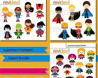 35% OFF SALE Superhero Fantastic clip art bundle, superheroes boys girls clipart, commercial use