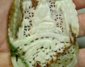 Vintage JADEITE Pendant Ornate Carved Dragon Brown White Green 238 cts cj37