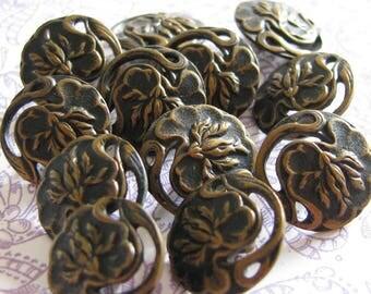 Art Nouveau Beauty...12 Antique Metal Floral Buttons