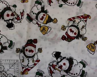 "Vintage Snowman with silver sparkle on cream  100% cotton 19"" x 28"" piece"