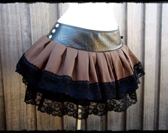Black and Brown Lace Up Skirt Belt, Size Small to Medium - Ready to Ship - Steampunk Fae Pirate Victorian Gothic Festival Cosplay Costume