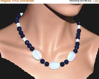 Blue Agate Necklace,  Opalite Necklace,  Sterling Silver,  Adjustable Necklace,  Gemstone Jewelry