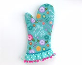 Designer Oven Mitt. Cute Kitchen Pot Holder. Hello Spring Flowers, Polka Dots and Pom Poms. Mother's Day Baking Gift. Gifts for Her.