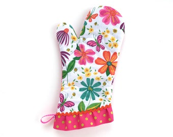 Designer Oven Mitt. Fancy Kitchen Pot Holder. Hello Spring Flowers, Butterflies and Polka Dots. Mother's Day Baking Gift. Gifts for Her.