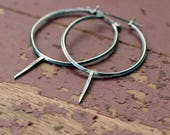 Reserved Ink and Dagger hoop earring