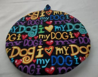 Quilted Pot Holders Potholders Hot Pads Trivet Dog Fabric Pot Holder Fabric Hot Pad Fabric Trivet Double Insulated Round Cotton Hostess gift
