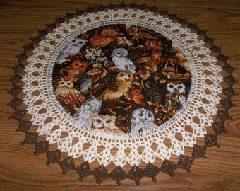 Fall Doily Owl Thanksgiving Doily 18 Inch Fabric Center Crocheted Edging Table Topper Centerpiece Handmade Fall Doily Gift Home Decorg