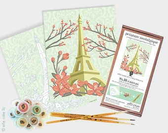 eiffel tower with cherry blossoms - 8x10 paint-by-number kit