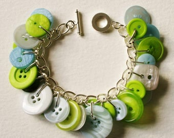 Button Bracelet Pale Blue and Lime Green