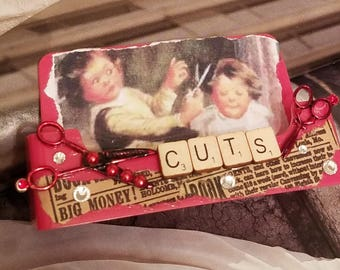 Vintage Hair/Business Card Holder/Scissors /Gypsy Style