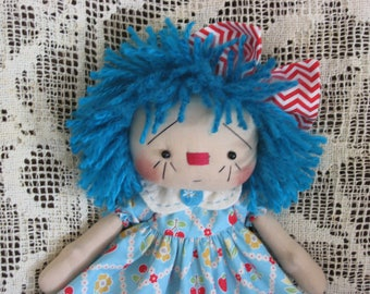 Primitive Raggedy Ann Blue haired Annie