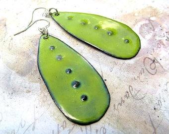 apple Green dangle earrings - rustic enamel earrings - Artisan Bohemian jewelry