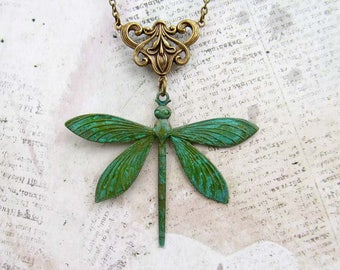 Art Nouveau Dragonfly necklace Gardener Gift for nature lover patina jewelry