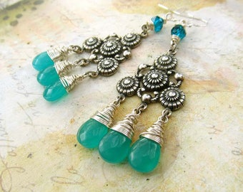 teal earrings Gypsy Earrings Silver Chandelier Earrings Bohemian Jewelry