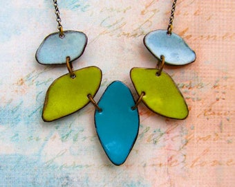 Statement necklace Colorful necklace enamel necklace apple green blue necklace enamel jewelry