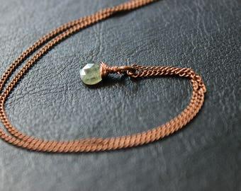 Moss Aquamarine Antique Copper Necklace
