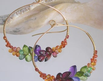 Gemstone Hoops with Sapphires, Peridot, Amethyst, Garnet, Large Rainbow Gem Front Facing Oval Earrings, Artisan Designed and Made