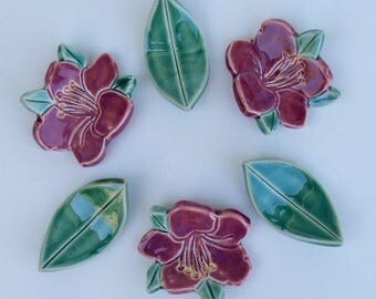 Ceramic ChopStick/ Pen Rests,  Hand Made Set of Six, Red Azelea and Leaf