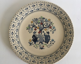 Sugar & Spice Plate Johnson Brothers Ironstone Staffordshire England Replacement 10 Inch Dinner Plate Blue Musicians Fruit Tree
