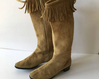 Suede Boots with Fringe Raw Leather Size 6 1/2 Narrow Short Heel Vintage Costume Shop Bohemian Style