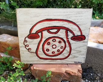 Telephone Folk Art on Wood
