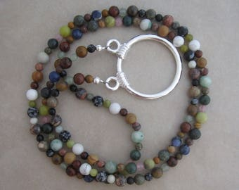 multi gemstone silver eyeglass chain holder loop necklace style