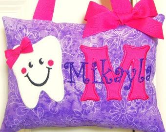 Tooth Fairy Pillow - Purple Butterflies - Custom Made - Baby Shower - Birthday Gift