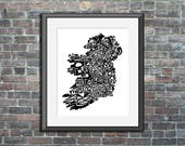 Ireland typography map ar...