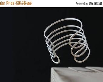 Memorial Day Sale Royal. Sterling Silver Six Row Wide Elegant Cuff Bracelet