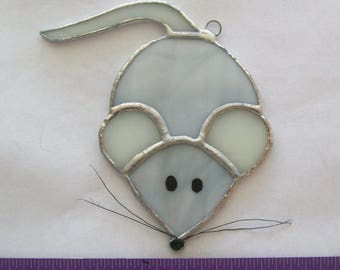 Mouse stained glass Christmas mouse gray ornament or suncatcher