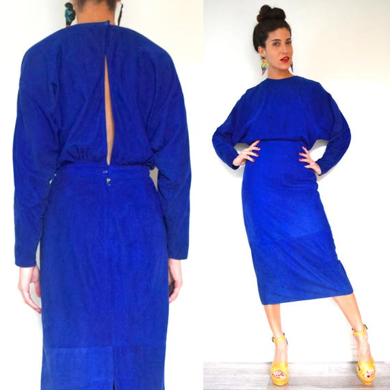 Vintage 80s 90s Cobalt Blue Suede Dolman Sleeve Open Back Pencil Dress (size small, medium)