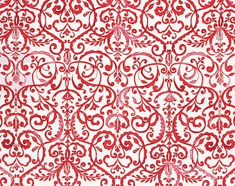 Dena Designs Fabric, Merry Mistletoe, Scrollwork in Red White, Damask, cotton quilting fabric -  FAT QUARTER - SALE