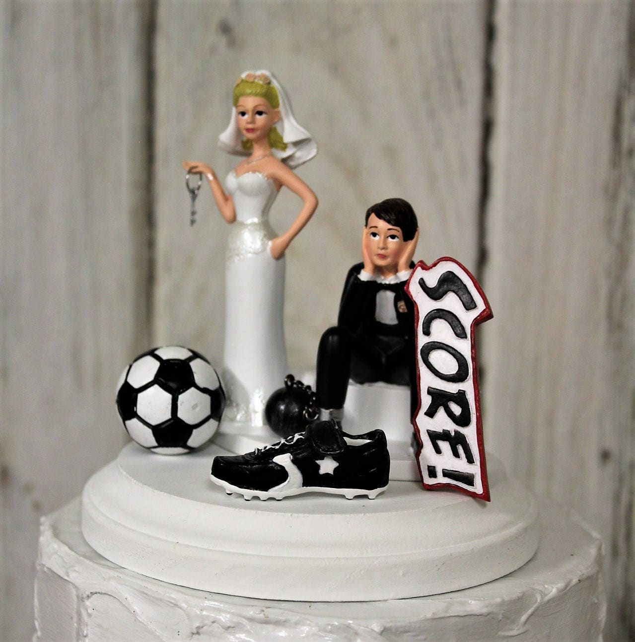 Soccer Cake Topper-Soccer Wedding Cake Topper-Sports-Soccer Ball ...