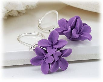 Lilac Dangle Earrings - Lilac Drop Earrings, Flower Cluster Earrings