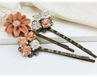 Rose Gold Hair Pins - Rose Gold Vintage Style Bobby Pins, Antique Rhinestone Hair Pins, Rose Gold Flower Hair Pins