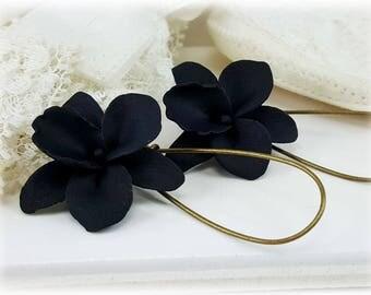 Black Orchid Earrings - Black Orchid Drop or Dangle Earrings, Black Orchid Jewelry