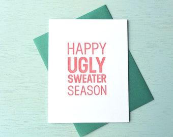 Letterpress Holiday Card - Happy Ugly Sweater Season - HPS-147