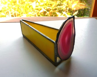 Business Card Holder - Stained Glass Box with Agate - Agate Flame