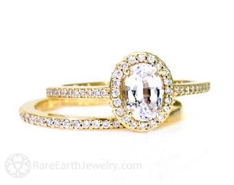 Oval White Sapphire Wedding Set Engagement Ring Oval Diamond Halo Setting 14K White Yellow Rose Gold Bridal Jewelry