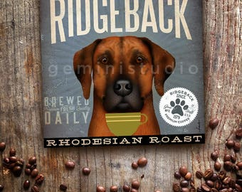 Rhodesian Ridgeback dog Coffee Company advertising style artwork on gallery wrapped canvas design by stephen fowler